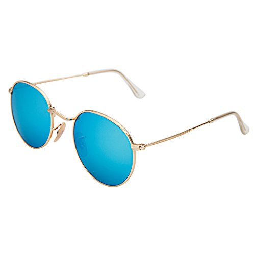 LianSan Classic Metal Frame Round Circle Mirrored Sunglasses - Blue Framed Glasses