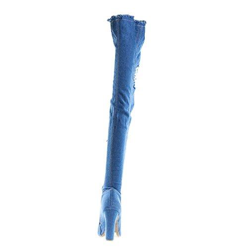 Limelight 60s Womens Blue Distressed Ripped Denim Dikke Hak Peep Toe Dij Hoge Laarzen Blauw