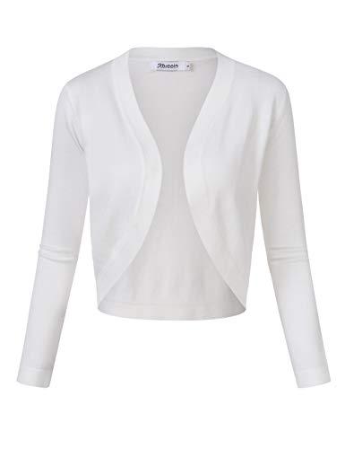 KOJOOIN Bolero voor dames, gebreide jas met 3/4 mouwen, cardigan, V-hals, bolerojas, schouderjas, casual top (verpakking…