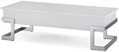 ACME Calnan Coffee Table w Lift Top – 81850 – White Chrome