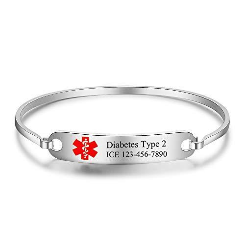 Custom Engraved Medical Alert ID Bracelets Men Name Bracelets Personalized Stainless Steel Medical ID Bracelets Kids