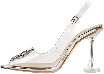 Women Transparent Rhinestone Sandals High Heels Slingback Slipper Bow-knot Shoes