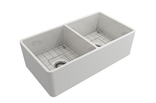 Farmhouse Kitchen BOCCHI 1139-001-0120 Classico Apron Front Fireclay 33 in. Double Bowl Kitchen Sink with Protective Bottom Grid and… farmhouse kitchen sinks