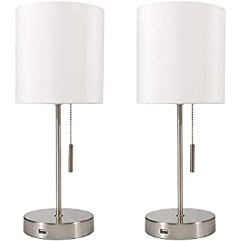 CO-Z White Table Lamp with USB Charger Set of 2, Modern ...