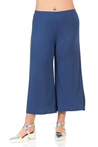 Stretch Wide Leg Crop Pants - Pastel by Vivienne Women's Wide Leg Crop Culottes Plus Size XXX-Large Denim