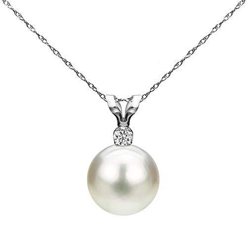 14K White Gold 1/100 Ct Diamond & White 7-7.5mm Freshwater Cultured Pearl Pendant Necklace (G-H, SI1-SI2), 18