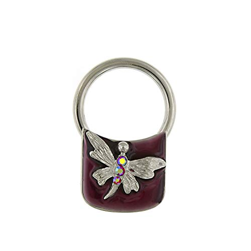 1928 Jewelry Silver-Tone Enamel and Crystal Butterfly Square Key Fob