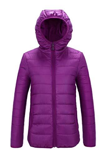 Wool Short Purple Warm Hooded Colour Energy Women's Skinny Coat Pure Zipper v88ASq