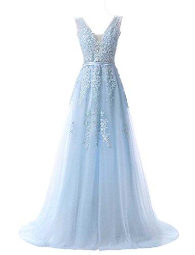 jydress de la mujer cuello en V apliques de tul largo vestido de noche sin espalda Formal Prom Fiesta Azul
