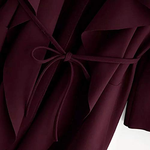 Vin Bandage Élégant Couleur Hiver Rouge Chuad Unie A Manche Poche Vestes Mode À Coat La Manteau Femme Longues qBP8aa