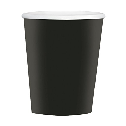 Amscan Disposable Paper Coffee Cups for Hot and Cold Beverages (40 Pack), 12 oz, Jet Black by Amscan