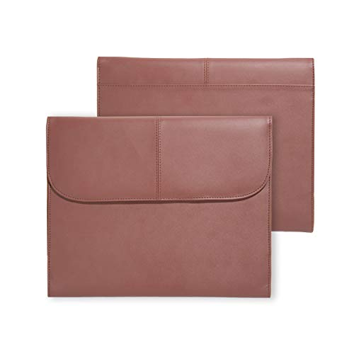 Vegan Leather Tablet and Laptop Briefcase Sleeve (Brown) for up to 11 inch fits iPad Air, iPad 9.7, iPad Pro 11, Microsoft Surface Go, Samsung Galaxy Tab S5e, S4, Asus Chromebook, Lenovo Tab P10, M10