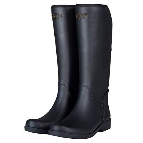 UNICARE Women's Mid-Calf Rain Boots Waterproof Rain Shoes Nonslip Tall Work Boot Rubber Rain Footwear Handmade, Black, US Size 10