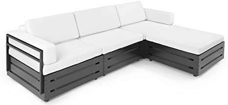 Slim Furniture Full Size Furniture 4 piece Couch with Wood and Fabric, Full Size, Black/White