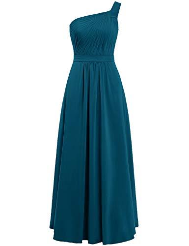 Asymmetrisch Linie Rückenfrei Chiffon A Brautjungfernkleider Lange Abendkleider Hochzeit Tintenblau Schoulder ballkleid One Kleider wfxqZnpB