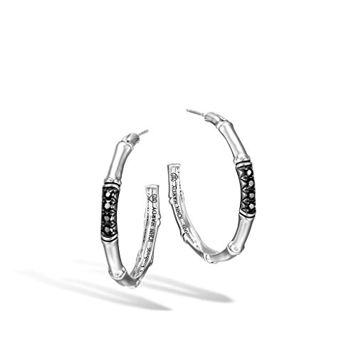 John Hardy WOMEN's Bamboo Silver Lava Medium Hoop Earrings (Dia 30.5mm) with Black Sapphire - EBS54334BLS (John Hardy Black Sapphire)