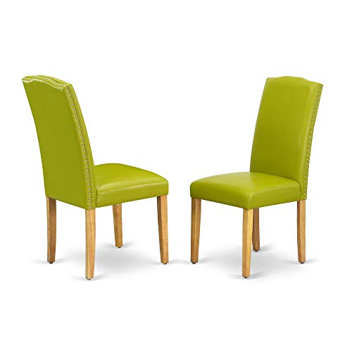 East West Furniture ENP4T51 Encinal Parson Chair with Oak Leg and Pu Leather Color Autumn Green,