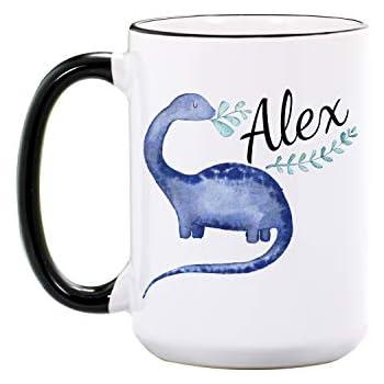 Dinosaur Mug - Personalized Large 15 oz or 11 oz Ceramic Cup - Dinosaur Gifts for Dinosaur Lovers - Dinosaurs Coffee Cups - Dino Mugs - Dishwasher & Microwave Safe - Made In USA