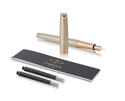 PARKER Sonnet Fountain Pen, Prestige Chiselled Silver with Rose Gold Trim, Solid 18k Gold Fine Nib