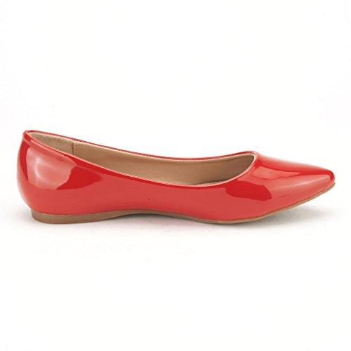 DREAM PAIRS Sole Classic Fancy Damen Casual Spitzschuh Ballett Comfort Soft Slip auf Wohnungen Schuhe Red-pat