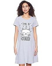 GIT Cat Print Short Sleeves Round Neck Nightshirt for Women XL