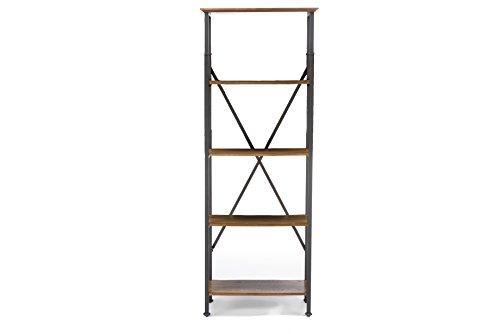 Baxton Studio Lancashire Wood and Metal Bookcase, Brown