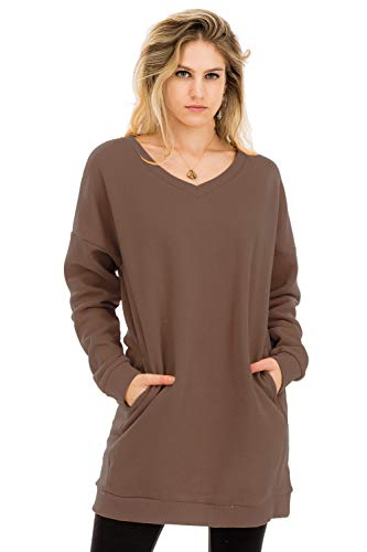 (NANAVA Women's Casual Loose Fit Long Sleeves Over-Sized Sweatshirts Mocha S/M)