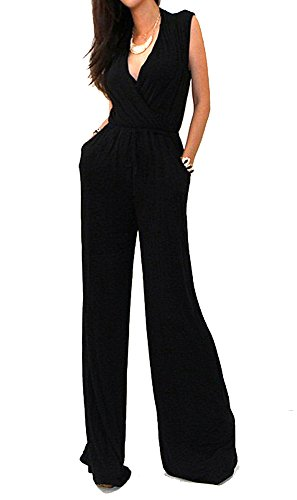 VIVICASTLE Sexy Wrap Top Wide Leg Sleeveless Cocktail Knit Jumpsuit (Large, BLACK) (Rayon Sleeveless Wrap Top)