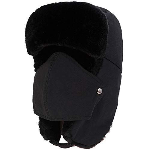 3e09d2f6c6a Zuozee Winter Warm Trapper Hat with Windproof Removable Mask Thick Hunting  Ushanka for Men Women Outdoor Skiing Sport Black