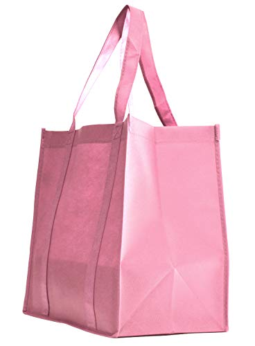 10 Pack Heavy Duty Grocery Tote Bag, Pink Color Large & Super Strong, Reusable Shopping Bags with Stand-up PL Bottom, Non-Woven Convention Tote Bags, Premium Quality (Set of 10, Pink)