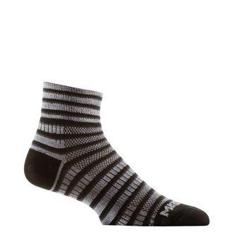 Mens 3 Stripe Quarter Sock - Wrightsock Unisex Coolmesh II Quarter Stripes 3 Pack Black/White/Grey Large