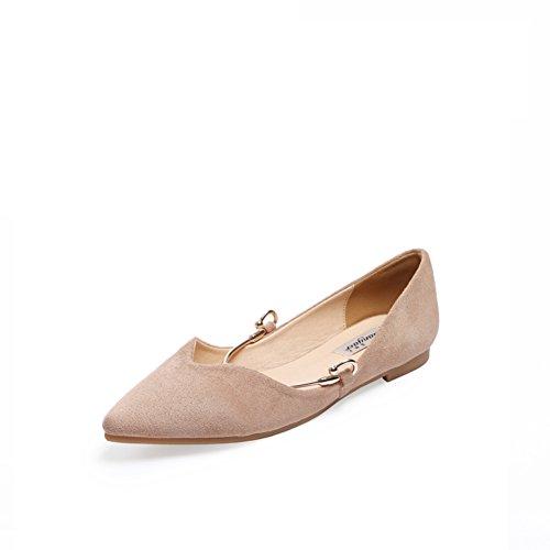 talón gamuza fondo Suave asakuchi Primavera la A zapatos Señora señaló manoletinas Nude dRn4xqd8f
