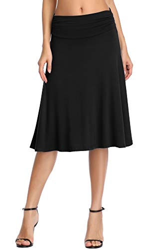 (Urban CoCo Women's Ruched Waist Stretchy Flared Yoga Skirt (M, Black) )