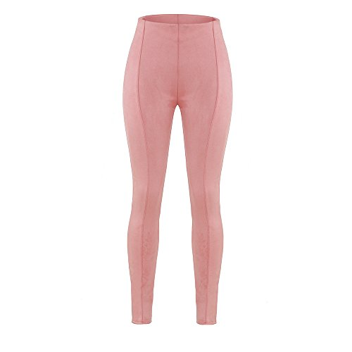 New Pink Faux Wildleder Leggings Casual Wear Club Wear Party Wear Leggings Größe UK 10