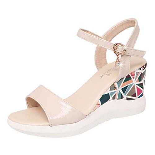 - ◕‿◕Water◕‿◕ Women Sandals,High Wedge Sandals Breathable Buckle Strap Shoes Peep Toe Colorful Print Sandals Bohemian Sandals Beige