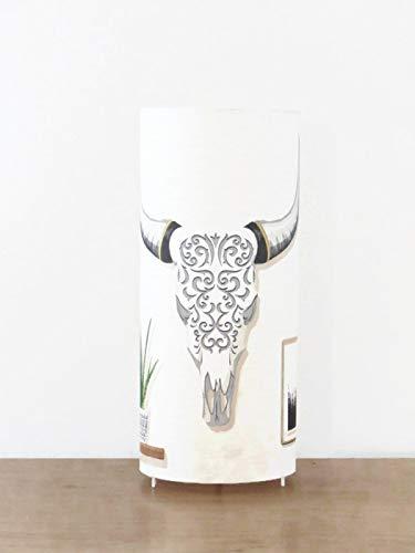 lampe tube motif crâne bison boho chic skull amérindien tête buffle ethnique bohème Luminaire original déco chambre idee cadeau anniversaire lampe chevet cadeau crémaillère noël