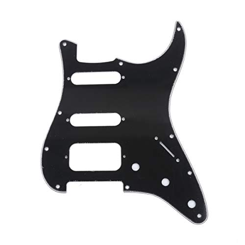 Musiclily Pro 11-Hole Round Corner HSS Guitar Strat Pickguard Humbucker for USA/Mexican Stratocaster Open Pickup, 3Ply Black