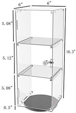 FixtureDisplays6x6x16 Rotating Mini Plexiglass Lucite Clear Acrylic Tower Showcase Display 20000-NEW-2D