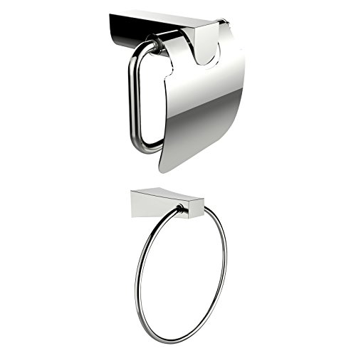 American Imaginations AI-13335 Towel Ring with Toilet Paper Holder Accessory Set, Chrome Plated