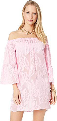 Lilly Pulitzer Women's Nevie Cover-Up Pink Tropics Tint Vertical Leaf Poly Crepe Clip Jacquard Small