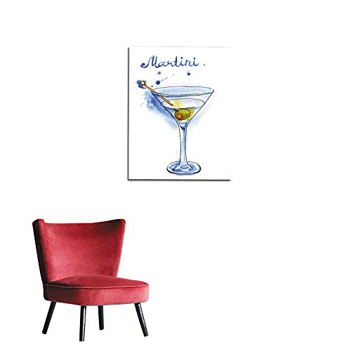(longbuyer Wallpaper Martini Glass with Green Olive Isolated on White Background Mural 16