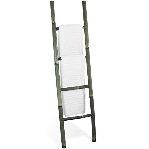 Decorative 5-Foot Black Bamboo Wall-Leaning Towel Ladder/Rack - Made in Indonesia (Black Decorative Ladder)