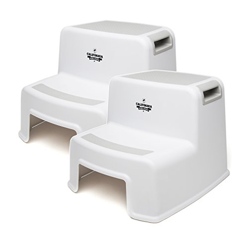 (2 Pack) Dual Height Step Stool for Toddlers & Kids, Potty Training Stool for Bathroom, Kitchen, Two-Step Design with Soft-Grips and Slip Resistant Material, White & Grey, by California Home Goods