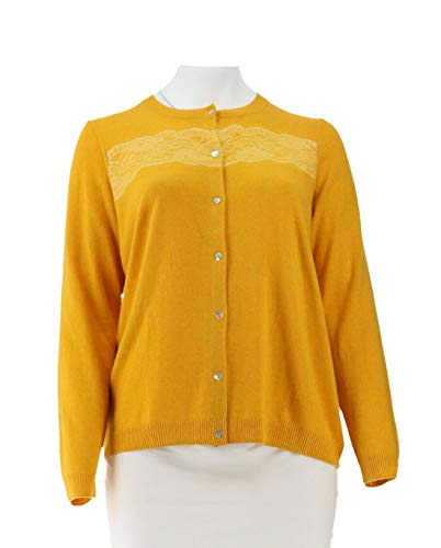Liz Claiborne NY Cardigan Lace Shell Buttons Antq Gold HTHR XL # A269261 ()