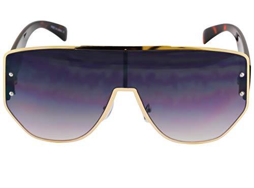 (Oversized Large Flat Top VINTAGE RETRO SHIELD VISOR Authentic Style SUNGLASSES (Black) )