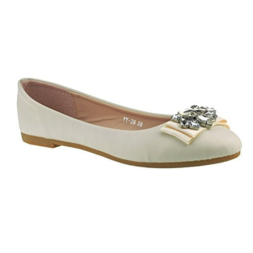 Fashion4Young Women's Ballet Flats Pink Multicolor 10 Beige 1NV9ucM96