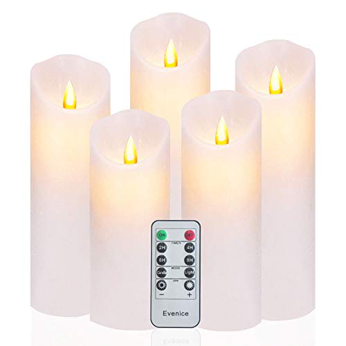 Evenice Flameless Candles Flickering LED Candles Water Ripple Pillar Candles Flame Remote Candles Battery Wax Decorative with Timer and 10-Key White Set of 5