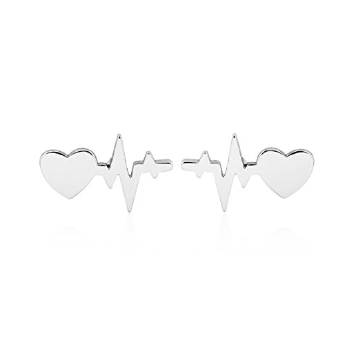 DYbaby Heartbeat and Cardiogram Pendant Stud Earrings & Necklace & Bracelet Nurse and Doctor Jewelry (Earrings-Silver)