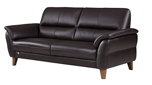 - American Eagle Furniture King Collection Living Room Top Grain Italian Leather Sofa, Dark Chocolate
