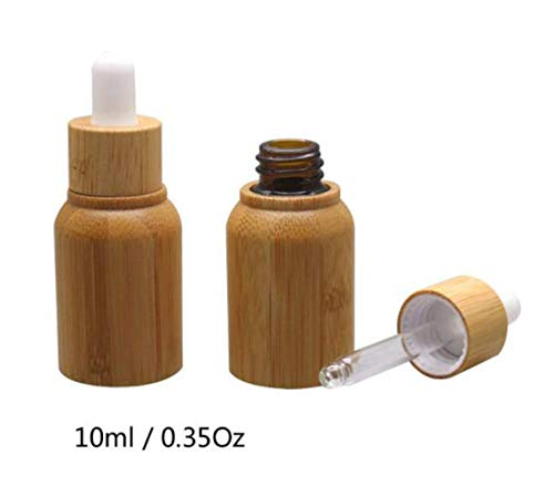 2PCS 10ML/0.35oz Empty Refillable Bamboo Glass Eye Dropper Bottle Essential Oil Bottles With Pipettes Makeup Cosmetic Sample Container Pot for Essential Oil Aromatherapy Use Attar Bottle